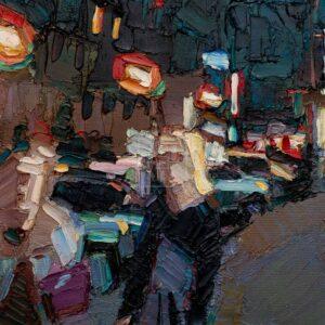 Фрагмент картины 3/3. Пейзаж. № 11. Улица Тверская в 0 часов 30 минут