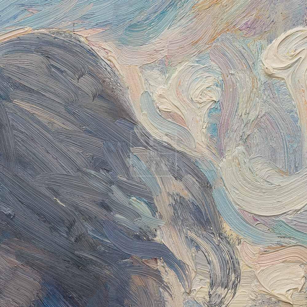 Фрагмент картины 2/3. Пейзаж. Девушки на Тверской