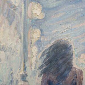 Фрагмент картины 3/3. Пейзаж. Девушки на Тверской