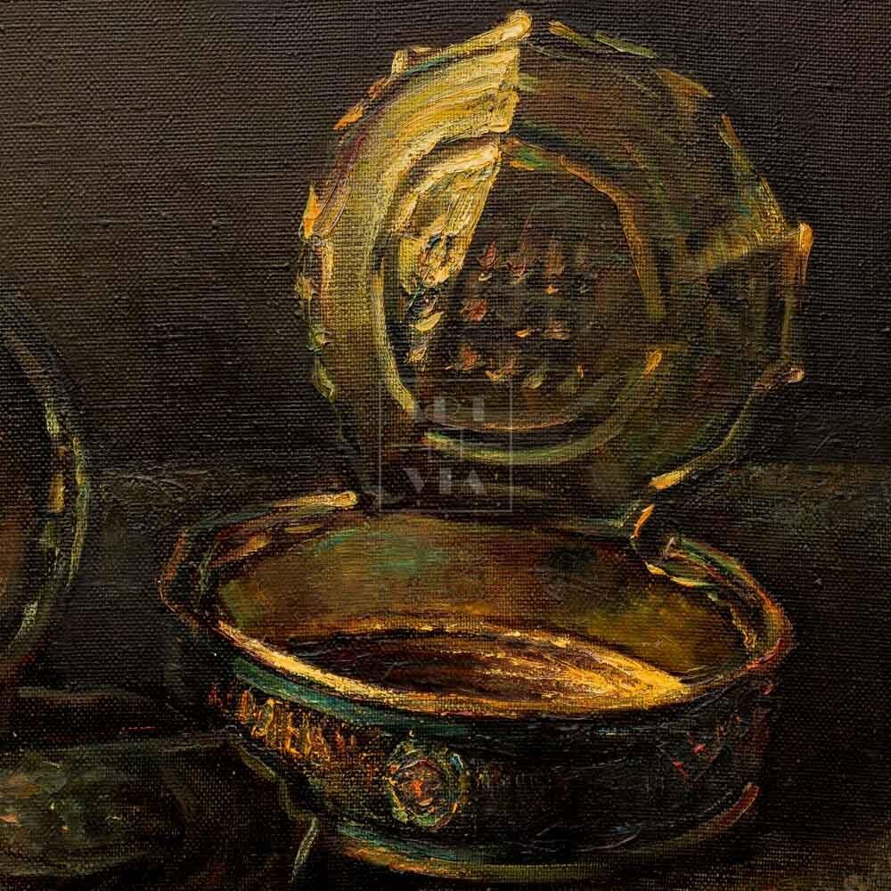 Фрагмент картины 3/3. Натюрморт. Две пустые банки