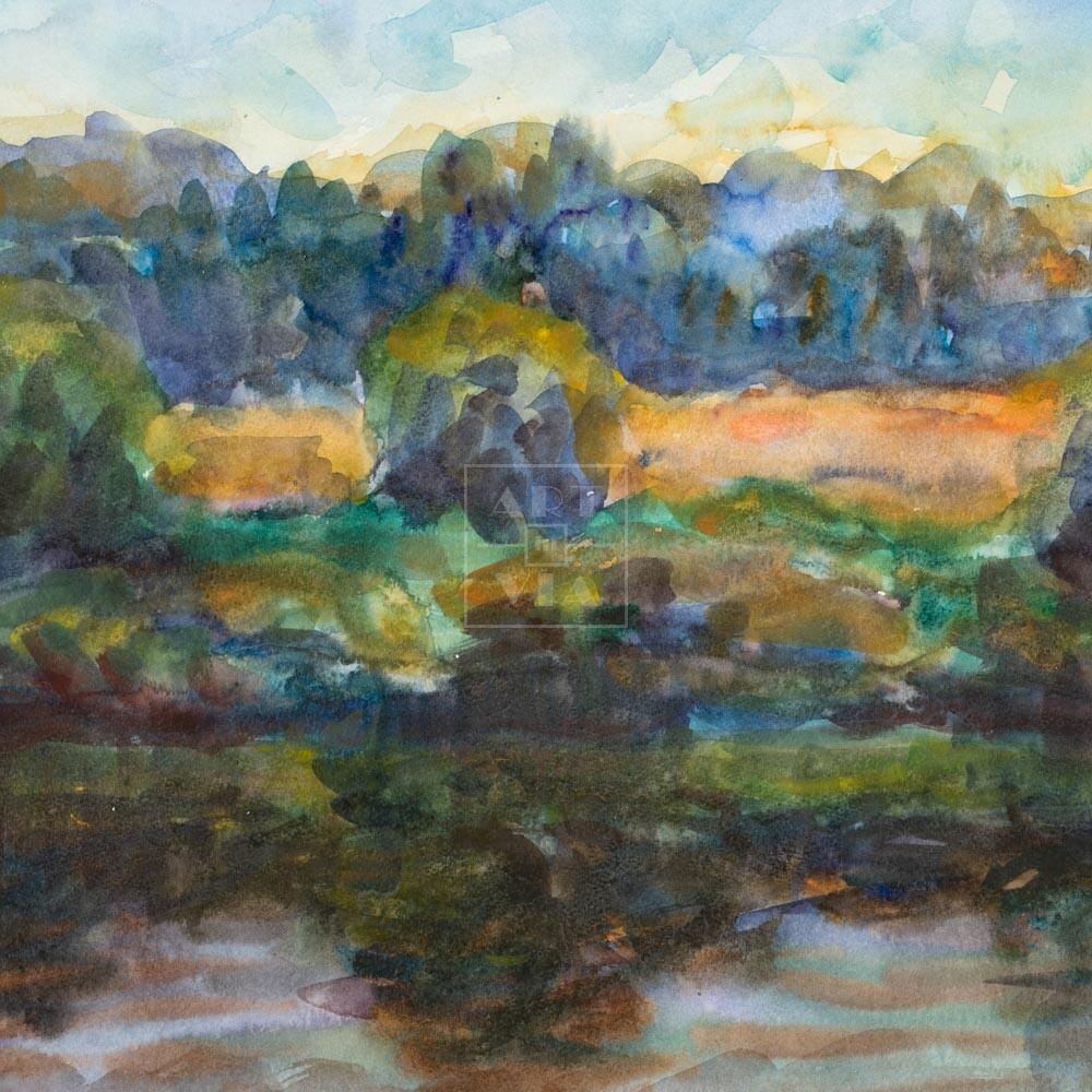 Фрагмент картины 1/3. Пейзаж. На берегу реки Пры