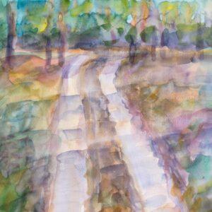 Фрагмент картины 1/3. Пейзаж. Дорога вдоль реки