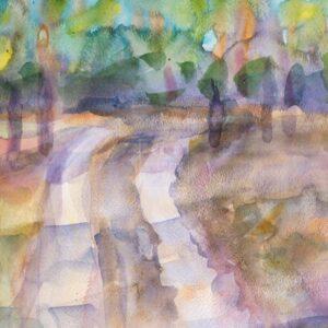 Фрагмент картины 3/3. Пейзаж. Дорога вдоль реки