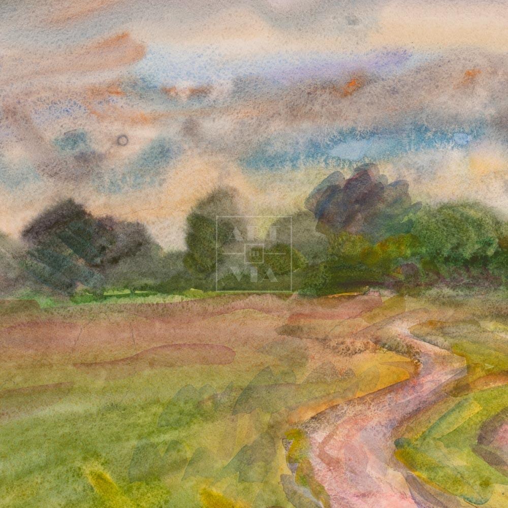Фрагмент картины 3/3. Пейзаж. Дорога. Окрестности Кинешмы