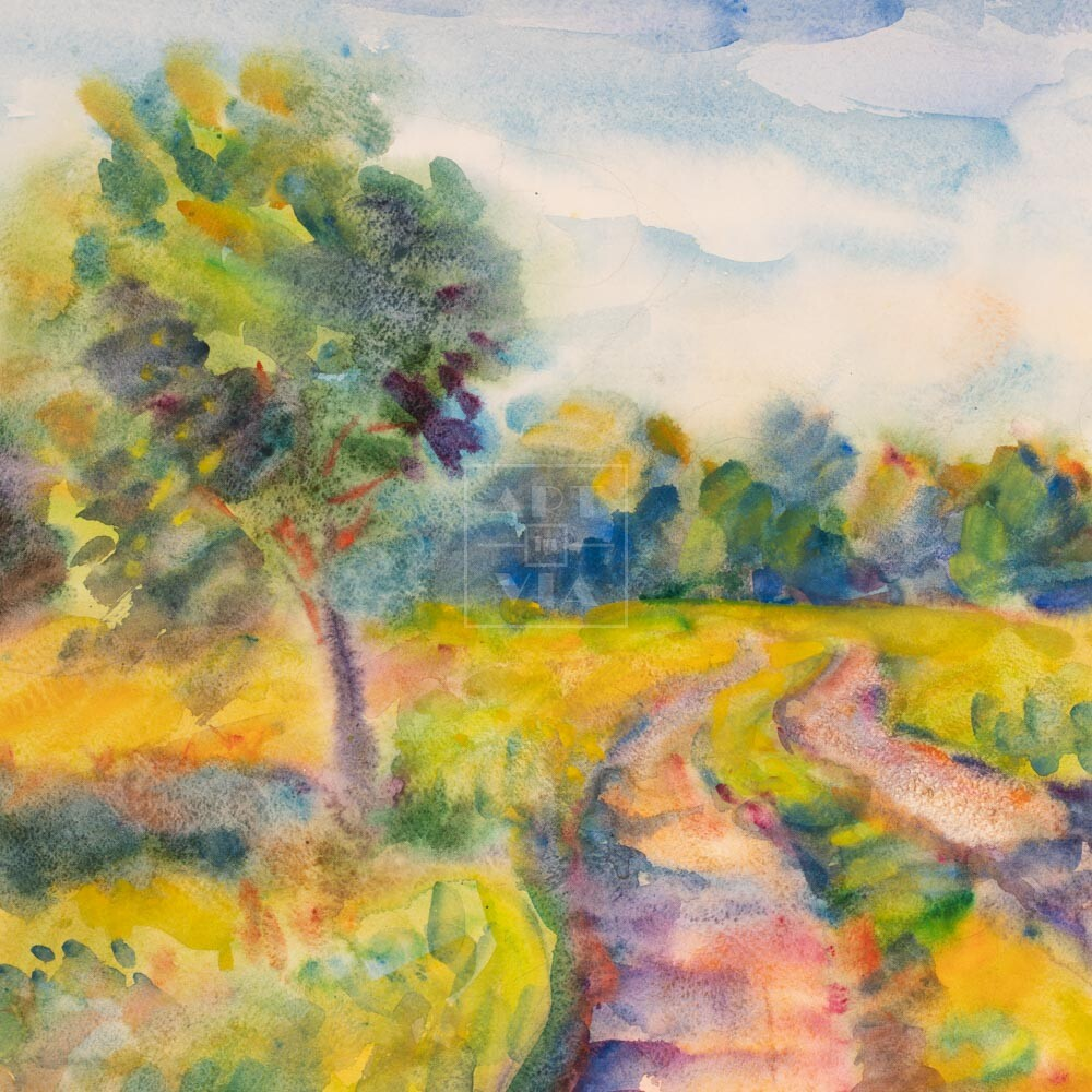 Фрагмент картины 1/3. Пейзаж. Сельская дорога