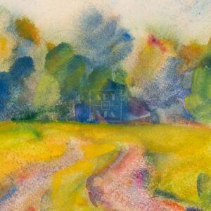 Фрагмент картины 2/3. Пейзаж. Сельская дорога