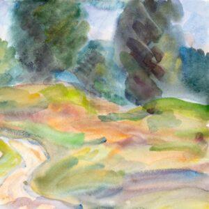 Фрагмент картины 1/3. Пейзаж. В окрестностях села Воздвиженье