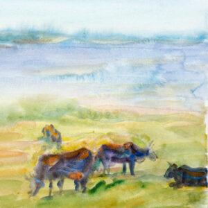 Фрагмент картины 1/3. Пейзаж. На берегу реки Волги
