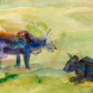 Фрагмент картины 2/3. Пейзаж. На берегу реки Волги