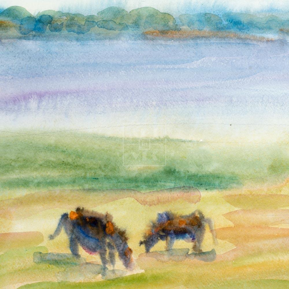 Фрагмент картины 3/3. Пейзаж. На берегу реки Волги
