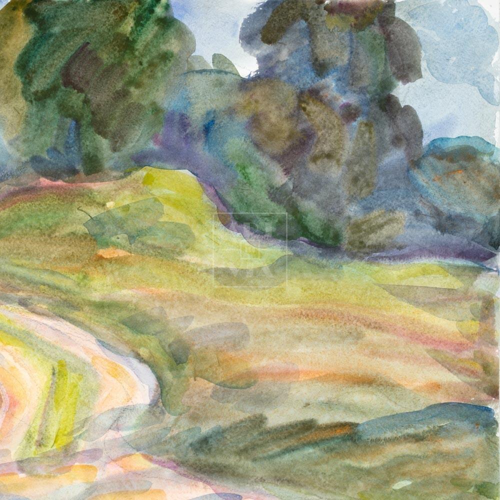 Фрагмент картины 1/3. Пейзаж. Лесная дорога