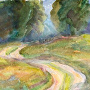 Фрагмент картины 3/3. Пейзаж. Лесная дорога