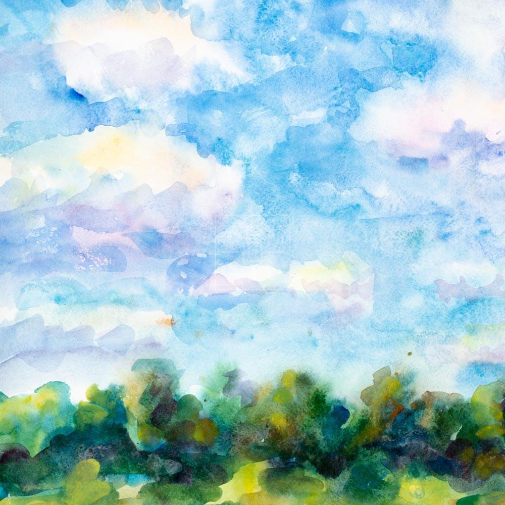 Фрагмент картины 1/3. Пейзаж. Кинешма. На берегу Волги