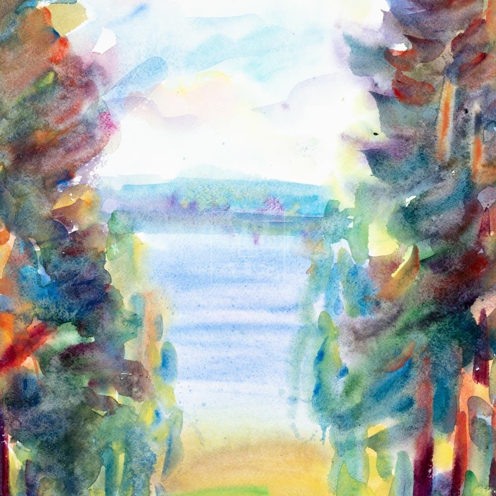 Фрагмент картины 1/3. Пейзаж. Кинешма. Вид на реку