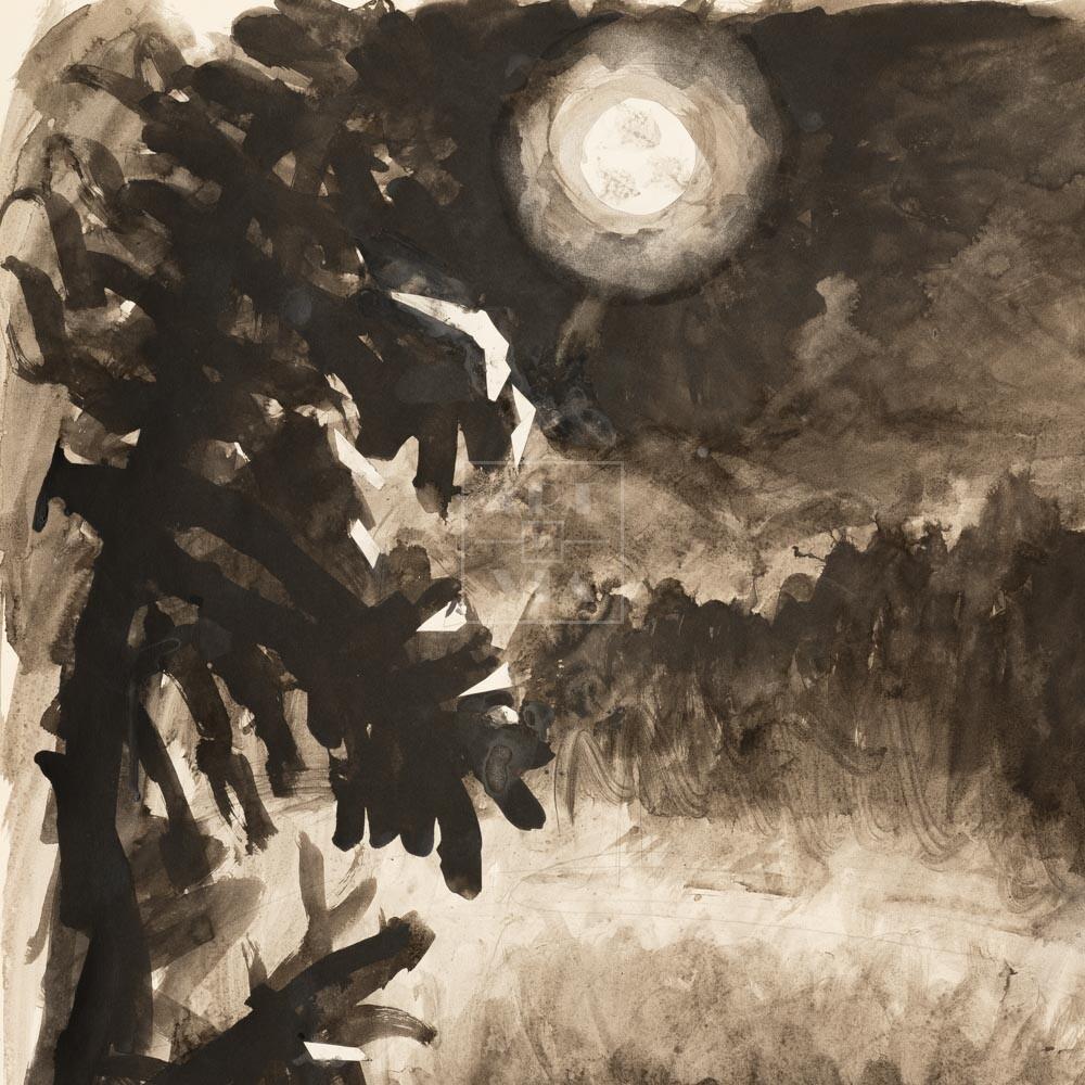 Фрагмент картины 1/3. Пейзаж. Река Пра. На берегу
