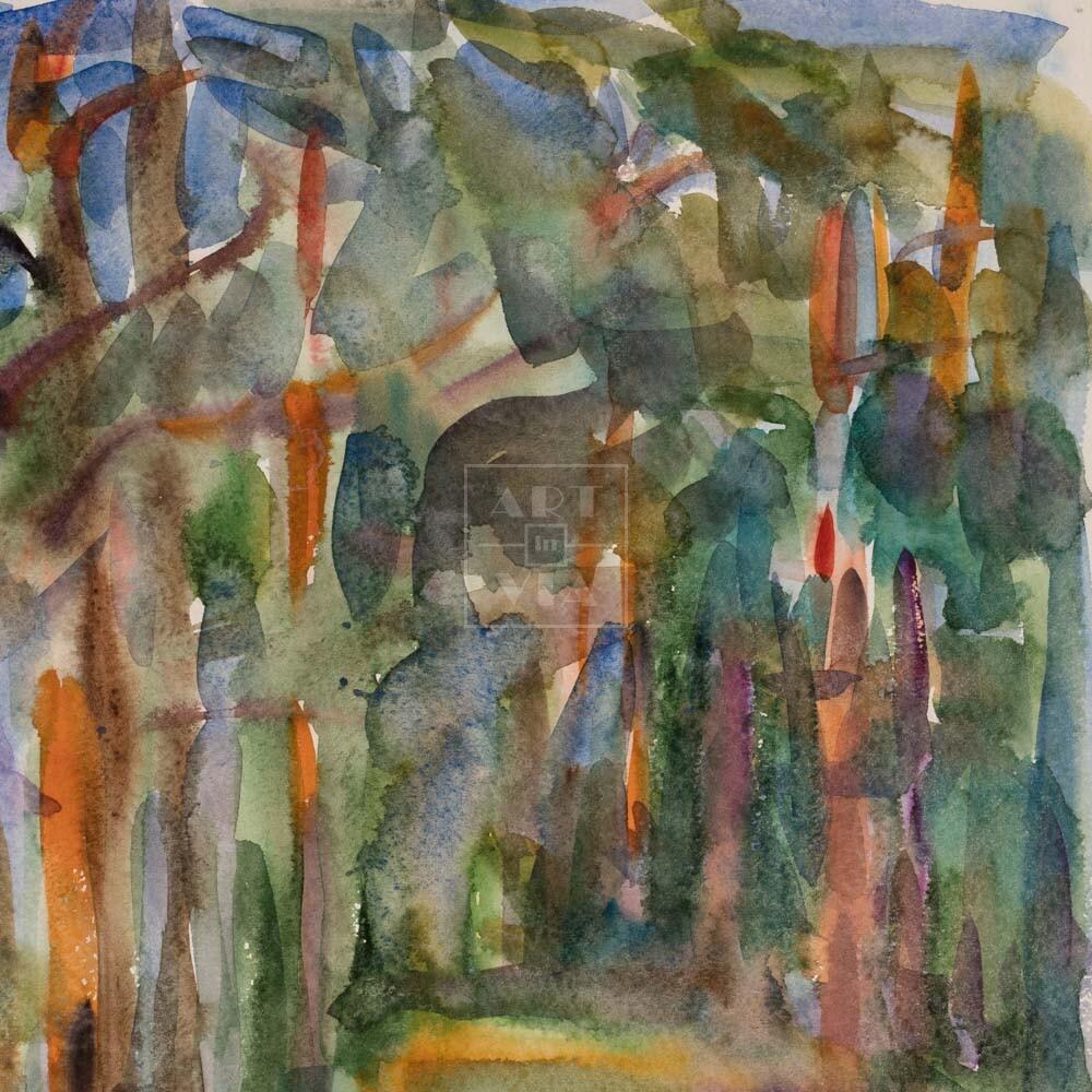 Фрагмент картины 1/3. Пейзаж. Дорога вдоль берега реки