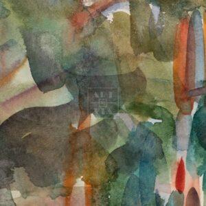 Фрагмент картины 2/3. Пейзаж. Дорога вдоль берега реки