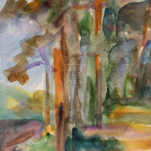Фрагмент картины 3/3. Пейзаж. Дорога вдоль берега реки