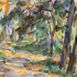 Фрагмент картины 1/3. Пейзаж. Тени в лесу