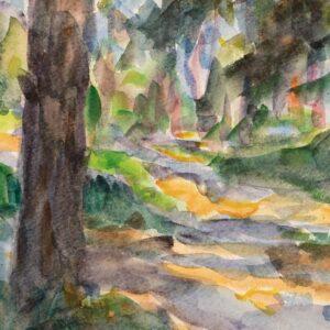 Фрагмент картины 3/3. Пейзаж. Тени в лесу