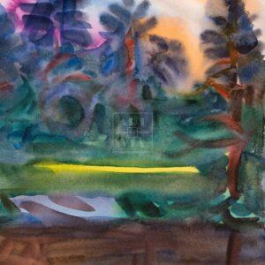 Фрагмент картины 1/3. Пейзаж. Закат в лесу