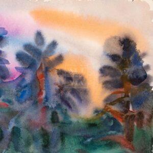 Фрагмент картины 3/3. Пейзаж. Закат в лесу
