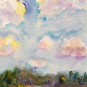 Фрагмент картины 1/3. Пейзаж. Облака. Деревня Деулино
