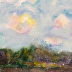 Фрагмент картины 3/3. Пейзаж. Облака. Деревня Деулино