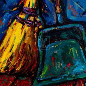 Фрагмент картины 1/3. Натюрморт. Совок и веник