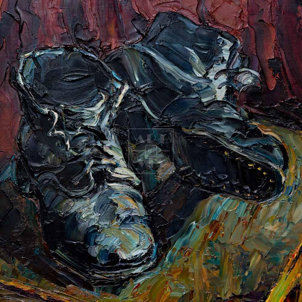 Фрагмент картины 1/3. Натюрморт с ботинками на стуле