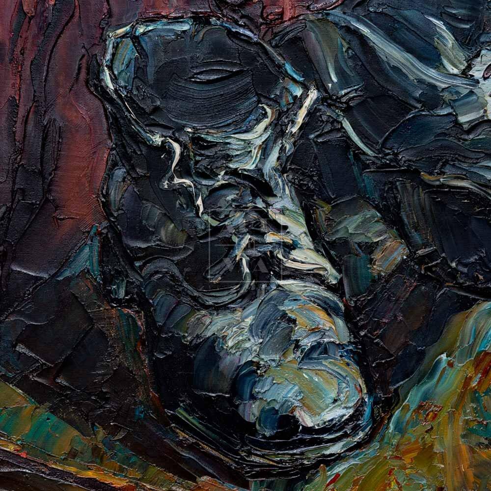 Фрагмент картины 3/3. Натюрморт с ботинками на стуле