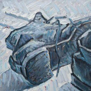 Фрагмент картины 3/3. Натюрморт с советскими ботинками