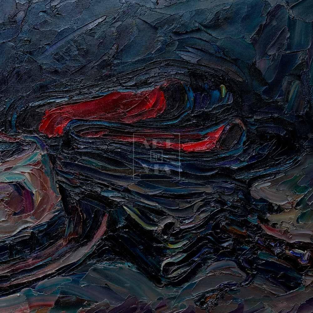 Фрагмент картины 1/3. Натюрморт с калошами и зонтом