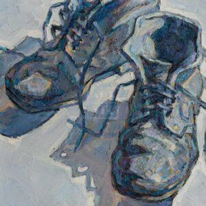 Фрагмент картины 1/3. Ботинки на белом подоконнике