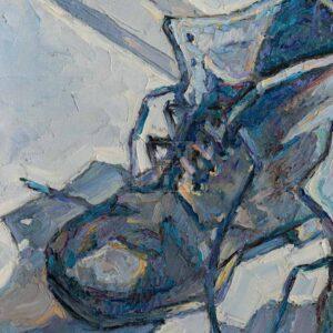 Фрагмент картины 3/3. Ботинки на белом подоконнике