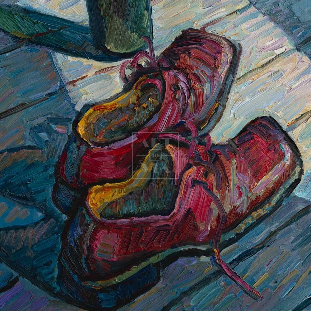 Фрагмент картины 1/3. Натюрморт с бутылкой и ботинками