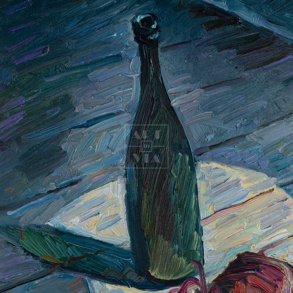 Фрагмент картины 3/3. Натюрморт с бутылкой и ботинками