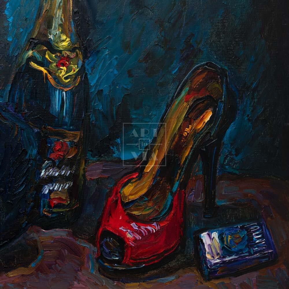 Фрагмент картины 1/3. Натюрморт с шапкой и красной туфелькой