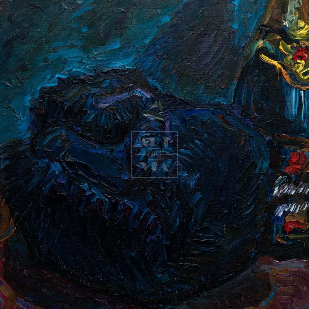 Фрагмент картины 3/3. Натюрморт с шапкой и красной туфелькой