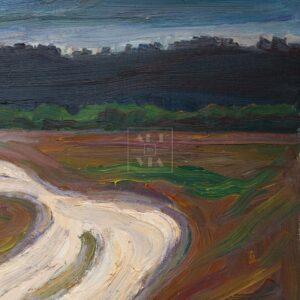 Фрагмент картины 1/3. Пейзаж. Дорога к лесу