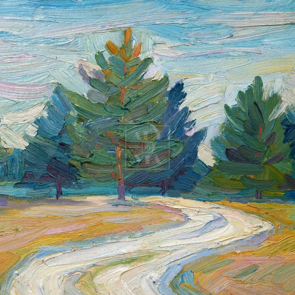 Фрагмент картины 3/3. Пейзаж. Дорога. В окрестностях Деулино