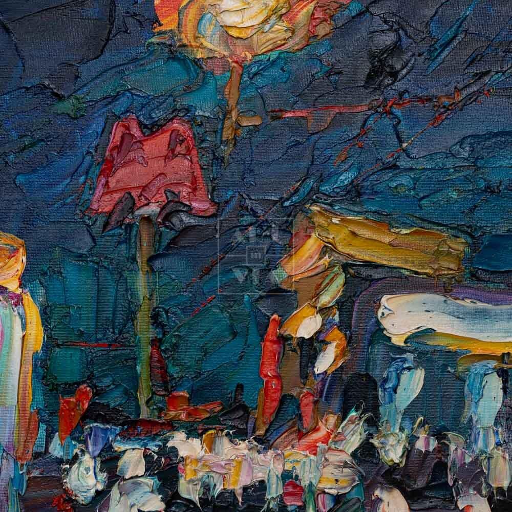 Фрагмент картины 3/3. Пейзаж. № 15. У выхода из метро