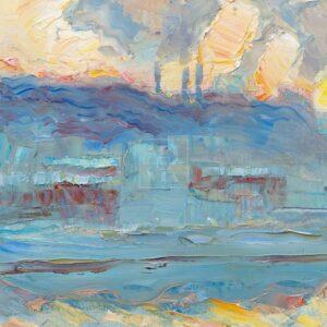 Фрагмент картины 1/3. Москва. Пейзаж. Нескучный сад в феврале