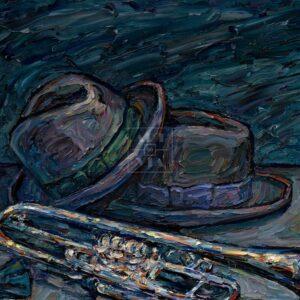 Фрагмент картины 1/3. Натюрморт с бабочкой и трубой