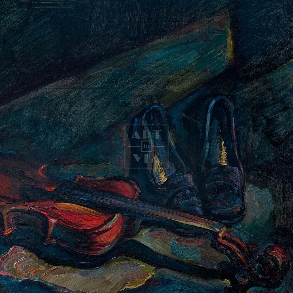 Фрагмент картины 1/3. Натюрморт. Туфли и старая скрипка