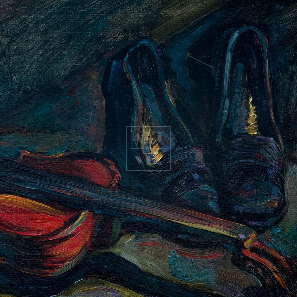 Фрагмент картины 3/3. Натюрморт. Туфли и старая скрипка