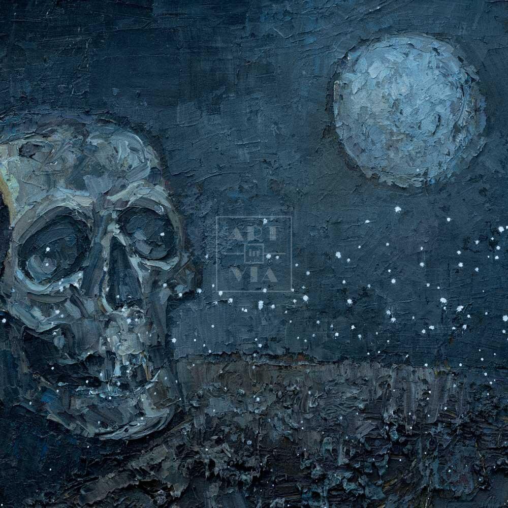 Фрагмент картины 1/3. Ванитас. Череп и луна