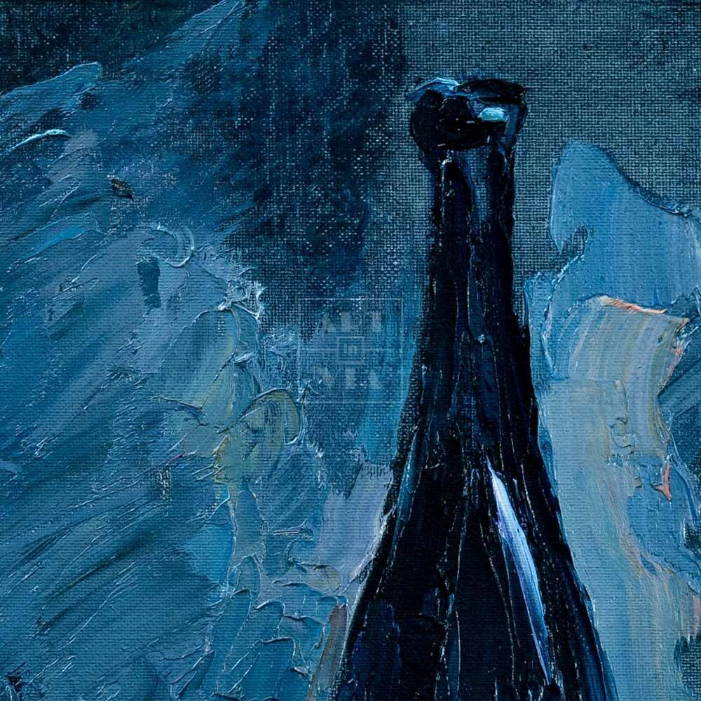 Фрагмент картины 2/3. Натюрморт с бескозыркой и селедкой