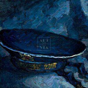Фрагмент картины 3/3. Натюрморт с бескозыркой и селедкой