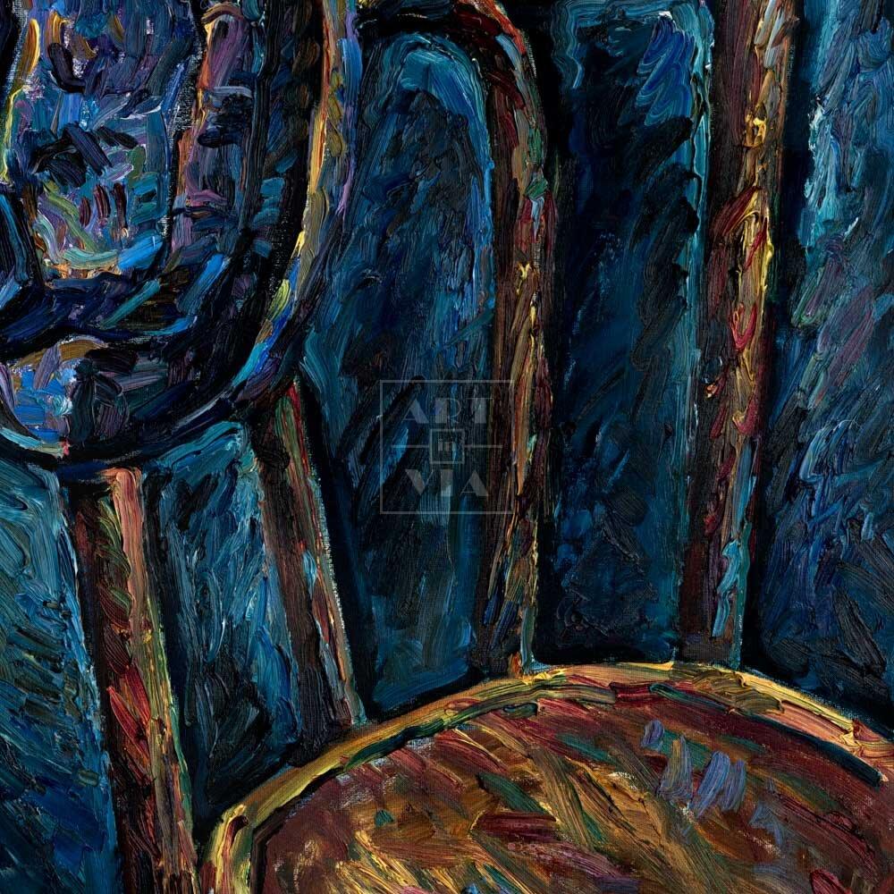 Фрагмент картины 1/3. Натюрморт со стулом и шляпой